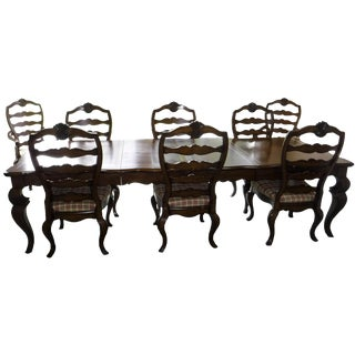 Hickory White French English Traditional Dining Table & Chairs - Set of 9