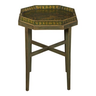Chinoiserie Painted, Gilded Octagonal English Tray Coffee Table circa 1910