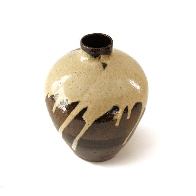 Image of Brown Drip Glaze Studio Pottery Vase