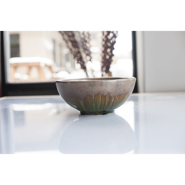 Image of Glazed Pottery Taupe/Green Bowl