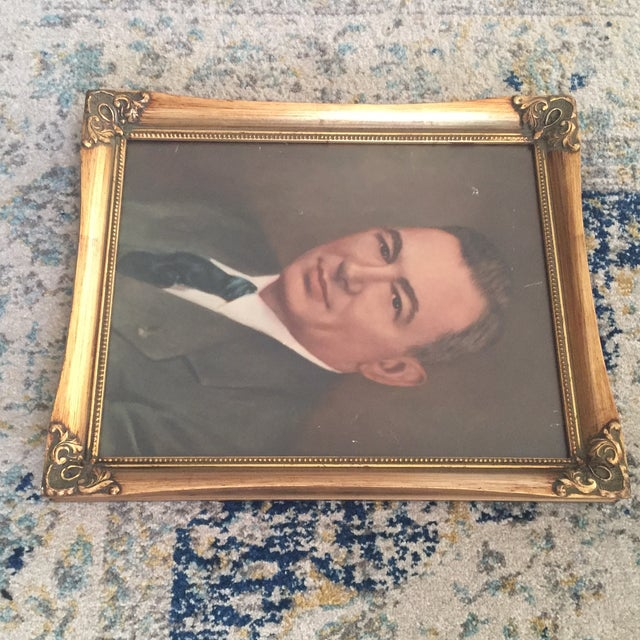 Vintage Framed Portrait Painting of Business Man - Image 11 of 11