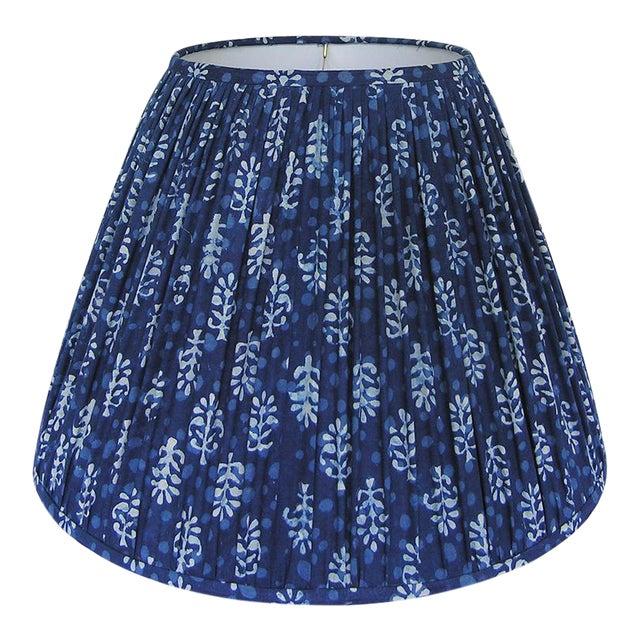 New, Made to Order, Indigo Blue Block Print Fabric, Medium Pleated/Gathered Lamp Shade Shade - Image 1 of 5