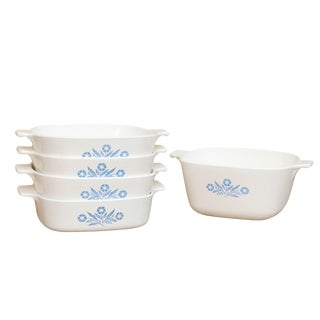 Blue & White Oven Dishes by Corning Ware, Set of 5