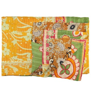 Vintage Orange & Green Kantha Quilt