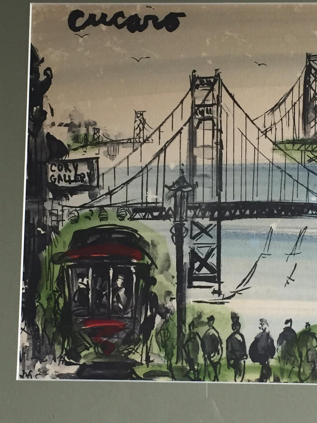 Elegant Mid Century Modern Art Abstract San Francisco Watercolor Pascal Cucaro    Image 6 Of 11