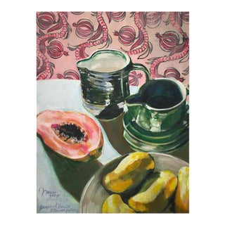 "Neicy Frey ""Tropical Fruit & Bauer Pottery"" Original Still Life Painting"