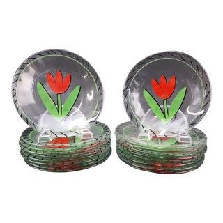 "Kosta Boda ""Tulipa"" Mid-Century Glass Plates - Set of 18"