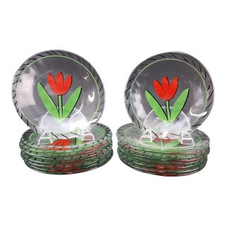 "Kosta Boda ""Tulipa"" Mid-Century Glass Plates - Set of 18"
