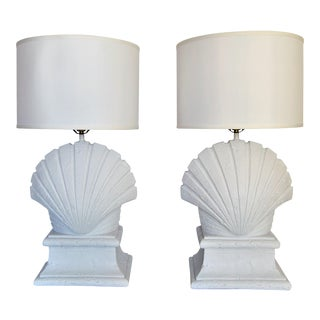 Vintage Serge Roche Inspired Solid Plaster Seashell Table Lamps - A Pair