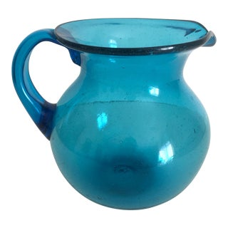 Mid-Century Blue Blenko Glass Pitcher