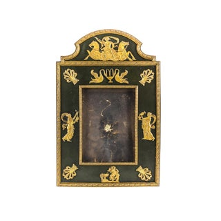 French First Empire Applied Gilt Bronze Figurals & Leather Backed Picture Frame, Circa 1830