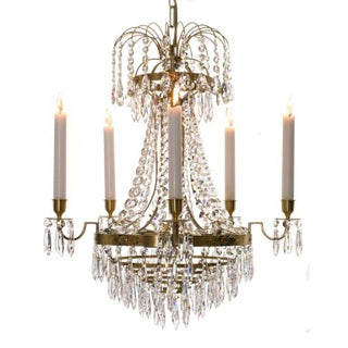 Empire Chandelier - Brass & Crystal