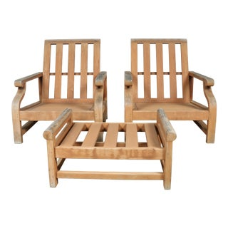 Kingsley Bate Furniture Teak Patio Lounge Chairs and Ottoman