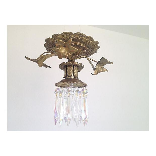 1930s Brass & Crystal Ceiling Light - Image 3 of 6
