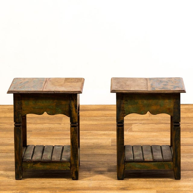 Reclaimed Solid Wood Side Tables - A Pair - Image 2 of 5