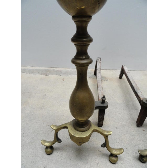 Image of Antique American Brass & Iron Andirons - a Pair