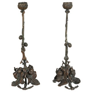 Pair of Art and Crafts Bronze Candlesticks