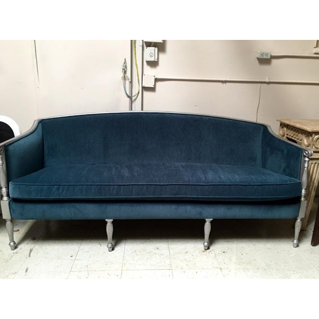 Image of Vintage Teal Hollywood Regency Sofa