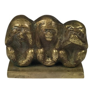 "Vintage Brass ""Hear No Evil Monkeys"" Figurine"