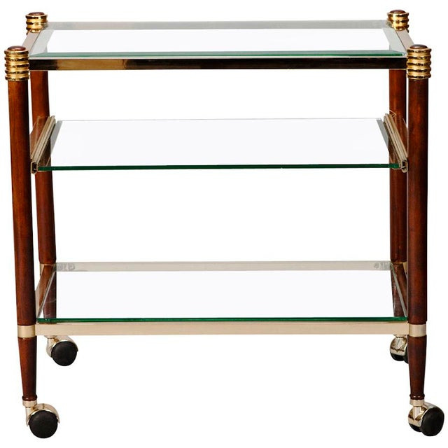 Mid-Century Italian Brass Glass and Polished Wood Trolley Table or Bar Cart - Image 3 of 8