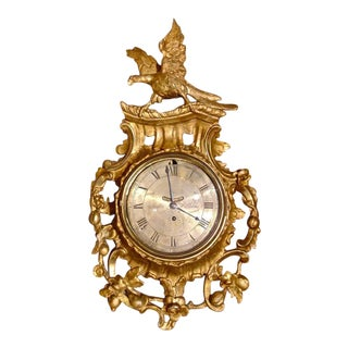 Period 18th Century Chippendale Giltwood Cartel or Wall Clock by John Wilkins