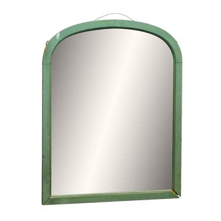 Green Arched Wood Framed Mirror