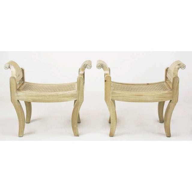 Pair Swedish Rococo Style White Glazed Pine Benches - Image 2 of 10