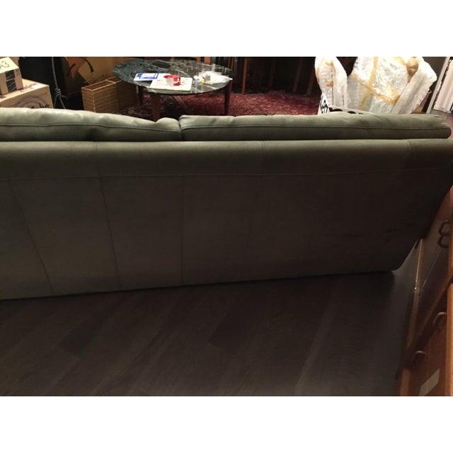 Roche Bobois Green Leather Sofa - Image 5 of 7