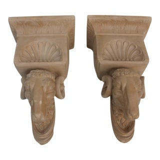French Rams Head Wall Brackets - A Pair