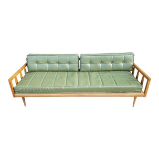 Vintage Green Vinyl Mid-Century Couch / Daybed