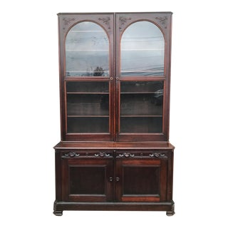 Antique English Victorian Mahogany Secretaire Bookcase Secretary Desk