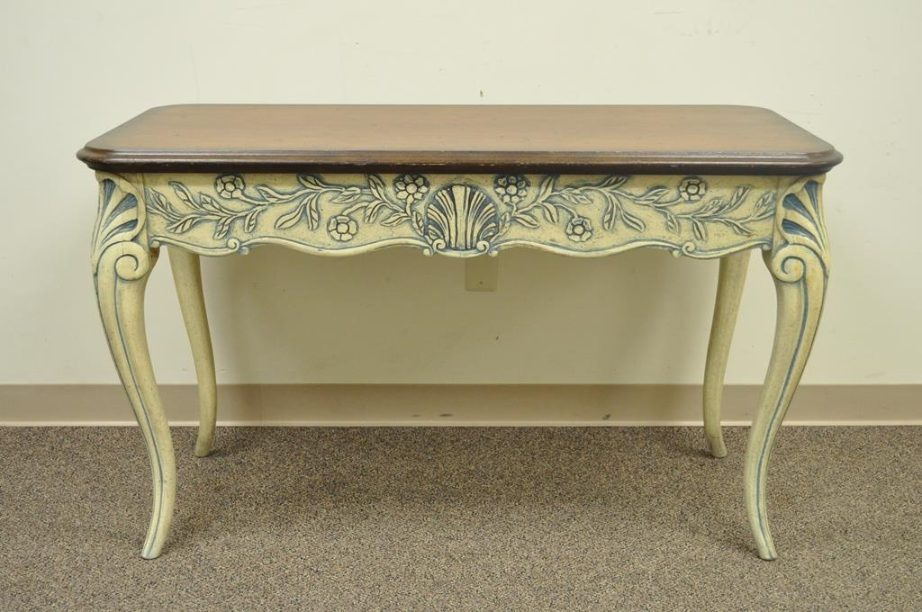 Vintage Louis XV French Country Style 2 Drawer Console Table   Image 4 Of 11