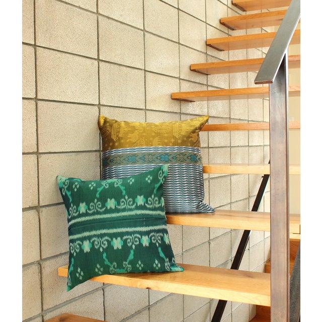 Green Boho Handwoven Ikat Pillow - Image 4 of 5