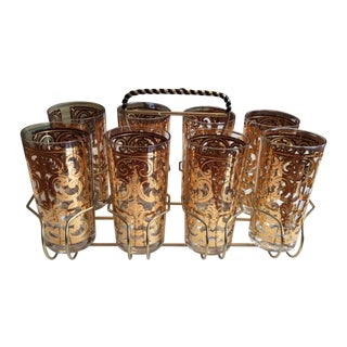 Signed Georges Briard 1960 Spanish Scroll Tumblers