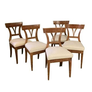 Marquetry Set of Five Upholstered Seat Dining Chairs, Austria, 19th Century