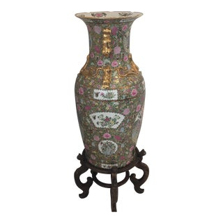 Chinese Famille Rose Ceramic Floor Vase with Stand