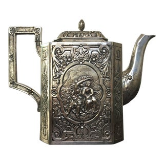 Antique German Silver Chased Pictoral Teapot
