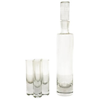 Vintage Tall Clear Glass Decanter Set