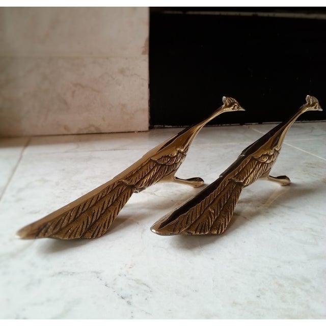 Mid-Century Brass Peacocks - A Pair - Image 2 of 8