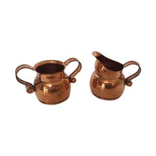 Hector Aguilar Taxco Copper Creamer & Sugar