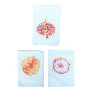 Hand-Designed Tea Napkins Fig, Orange, & Grapefruit - Set of 3