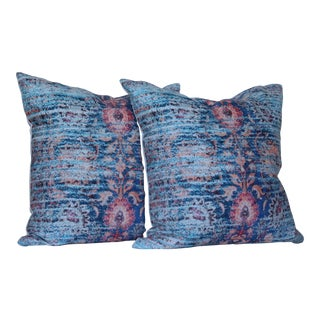 Distressed Blue Ikat Print Pillow Covers- a Pair