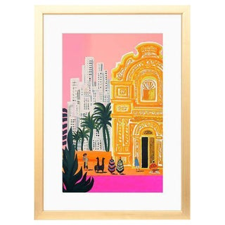 Bright South America Framed Art Print With White Mat & Gold Frame