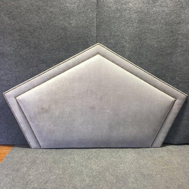 Queen Grey Upholstered Headboard, Nailhead Trim - Image 2 of 6