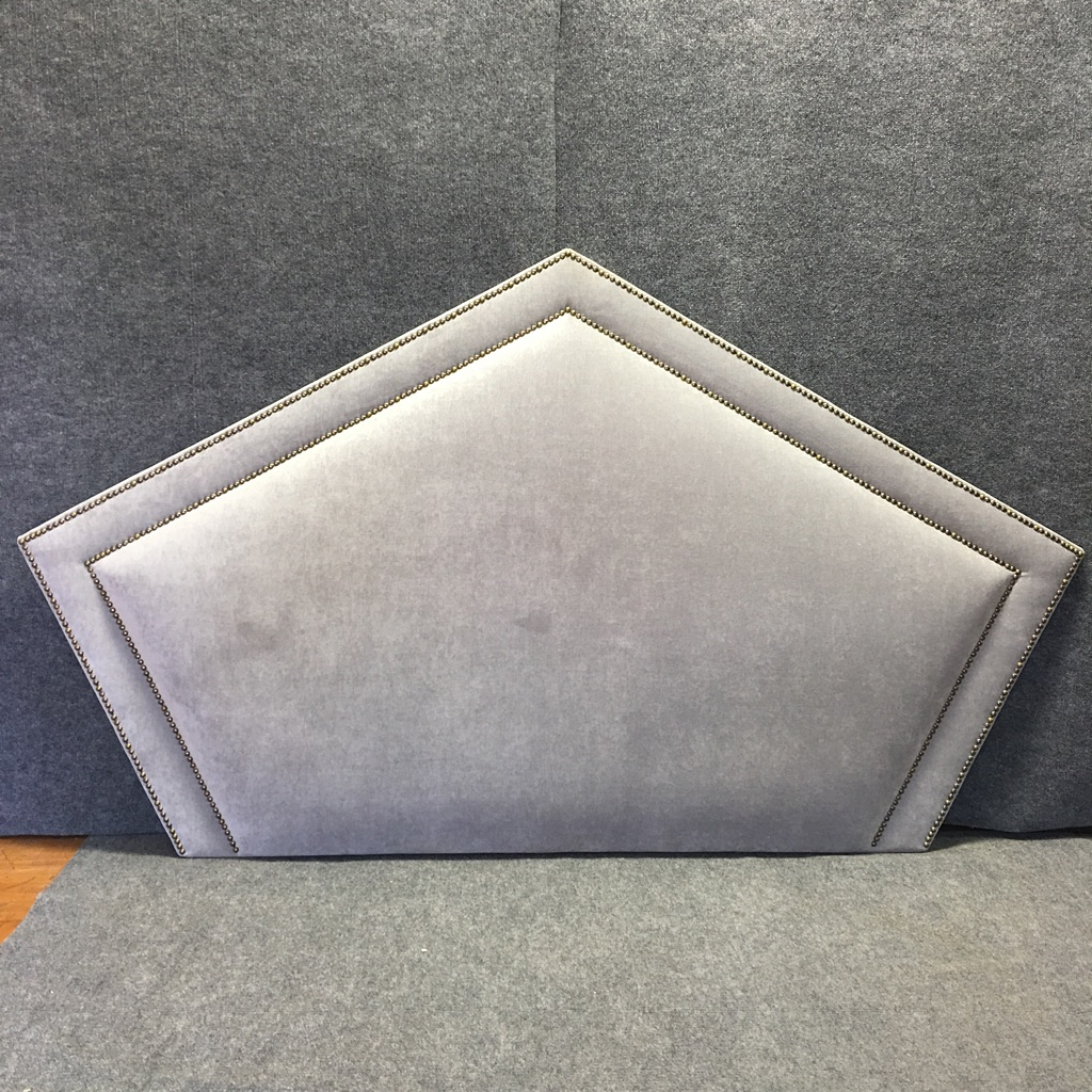 Queen Grey Upholstered Headboard, Nailhead Trim