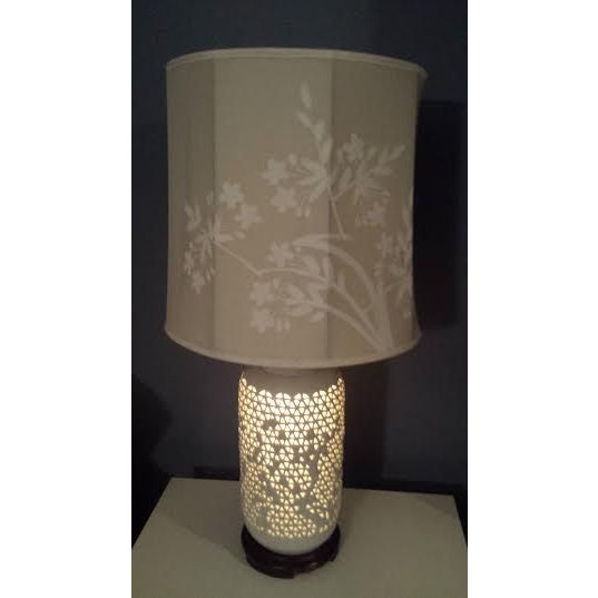 Reticulated Blanc de Chine Lamps - A Pair - Image 5 of 6