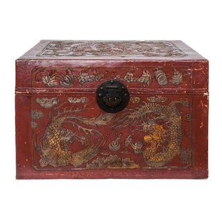 Vintage Chinese Red Leather Storage Box