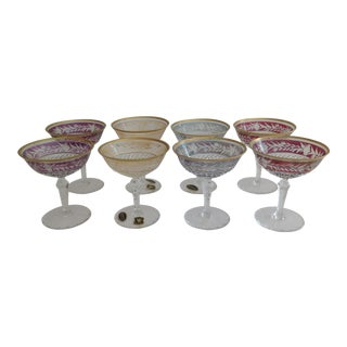 Ebeling-Reuss Cut Crystal Coupe Champagne Glasses - Set of 8