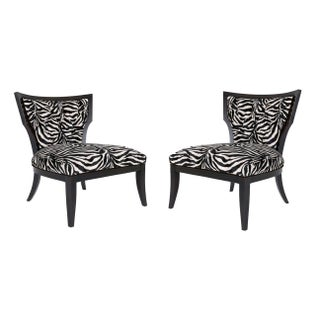 Zebra Lounge Chairs - A Pair