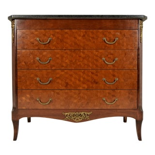 Traditional Louis XVI Marble-Top Chest of Drawers